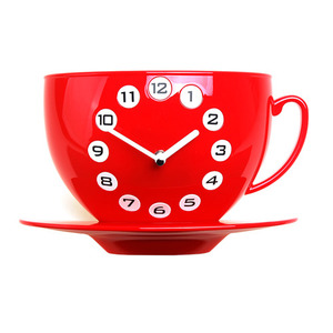 Coffee Cup Clock (Red)